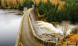 Loch Laggan Dam in flood, Scotland<br /> <br /> (c) Andrew Wilson | Edinburgh Elite media