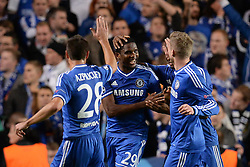 06.11.2013, Stamford Bridge, London, ENG, UEFA CL, FC Chelsea vs FC Schalke 04, Gruppe E, im Bild Chelsea's Samuel Eto'o celebrates scoring, goal // Chelsea's Samuel Eto'o celebrates scoring, goal UEFA Champions League group E match between FC Chelsea and FC Schalke 04 at the Stamford Bridge in London, Great Britain on 2013/11/06. EXPA Pictures © 2013, PhotoCredit: EXPA/ Mitchell Gunn<br /> <br /> *****ATTENTION - OUT of GBR*****