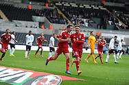 Gwion Edwards of Wales (7) celebrates after he scores his sides 1st goal to make it 1-1. UEFA 2015 European U21 championship, group one qualifier , Wales u21 v England u21 at the Liberty Stadium in Swansea, South Wales on Monday 19th May 2014. <br /> pic by Andrew Orchard, Andrew Orchard sports photography.