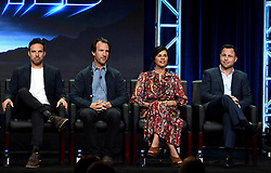 BEVERLY HILLS - AUGUST 8: (L-R) Creator/Writer/Executive Producer Tom Gormican, Creator/Writer/Executive Producer Kevin Etten, Executive Producer Naomi Scott and Executive Producer Mark Schulman onstage during the panel for 'Ghosted' at the FOX portion of the 2017 Summer TCA press tour at the Beverly Hilton on August 8, 2017 in Beverly Hills, California. (Photo by Frank Micelotta/Fox/PictureGroup) *** Please Use Credit from Credit Field ***
