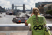 Flotilla of fishing vessels heading up the Thames to make the case for Brexit in the EU Referendum on June 15th in London, United Kingdom. The flotilla was organised by Scottish skippers as part of the Fishing for Leave campaign which is against European regulation of the fishing industry, and the CFP (Common Fisheries Policy). Between 30 and 35 trawlers travelled up the Thames, through Tower Bridge and moored in the Pool of London. (photo by Mike Kemp/In Pictures via Getty Images)