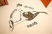 Table cloth design logo of merman, Butley Oysterage restaurant, Orford, Suffolk, England, UK