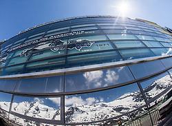 THEMENBILD - die Grossglockner Hochalpenstrasse. Die hochalpine Gebirgsstrasse verbindet die beiden oesterreichischen Bundeslaender Salzburg und Kaernten mit einer Laenge von 48 Kilometer. Sie ist als Erlebnisstrasse vorrangig von touristischer Bedeutung und das Befahren ist fuer Kraftfahrzeuge mautpflichtig, im Bild der Grossglockner und das Glocknermassiv spiegeln sich in der Glasfassade des Besucherzentrums auf der Kaiser-Franz-Josefs-Höhe, aufgenommen am 24.05.2014 // ILLUSTRATION - the Grossglockner High Alpine Road. The high alpine mountain road connects the two Austrian federal states of Salzburg and Carinthia with a length of 48 kilometers. It is as a matter of priority road experience of tourist importance and for driving motor vehicles is a toll road. Picture taken on 2014/05/24. EXPA Pictures © 2014, PhotoCredit: EXPA/ JFK
