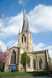 The crooked spire of the Church of Saint Mary and All Saints; Chesterfield,