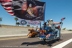Patriot Guard rider on the Hand In Hand Ride Benefitting Phoenix Children's Hospital during Arizona Bike Week 2014. USA. April 5, 2014.  Photography ©2014 Michael Lichter.