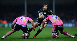 Frans Steyn of Montpellier attempts to get past Harry Williams of Exeter Chiefs and Mitch Lees of Exeter Chiefs - Mandatory by-line: Alex Davidson/JMP - 13/01/2018 - RUGBY - Sandy Park Stadium - Exeter, England - Exeter Chiefs v Montpellier - European Rugby Champions Cup