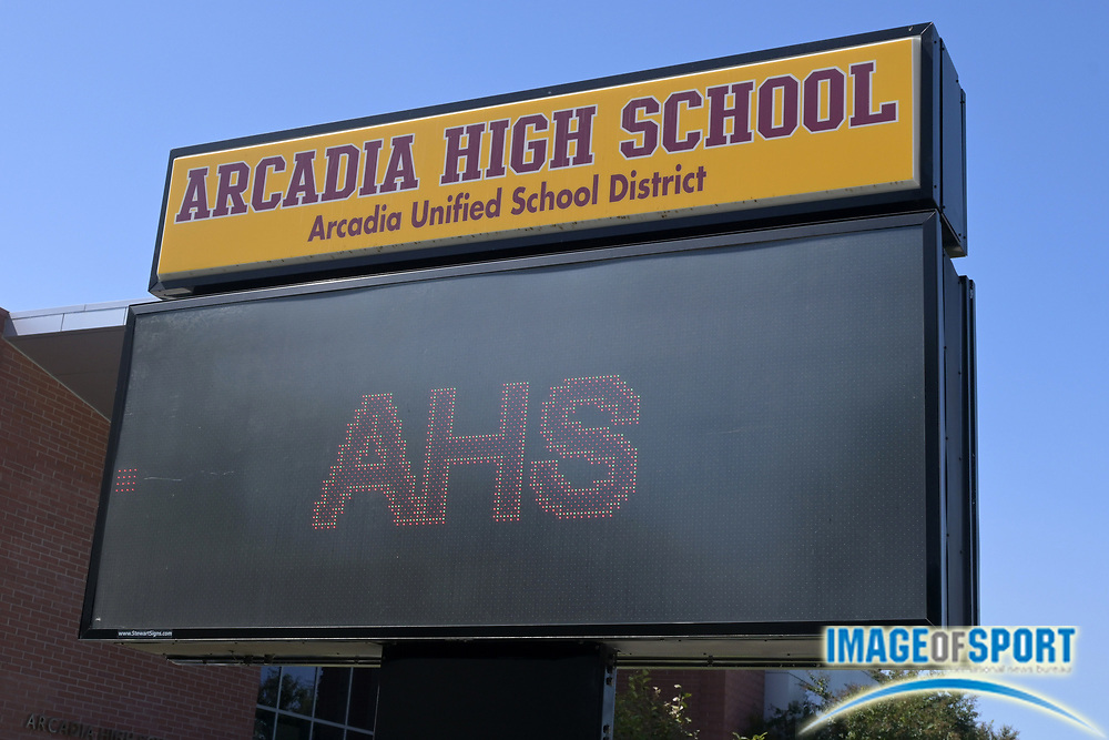 A general view of Arcadia High School marquee sign, Sunday, Sept. 20, 2020, in Arcadia, Calif.