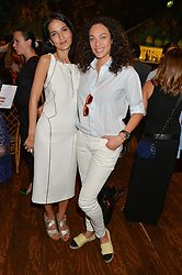 Left to right, YASMIN MILLS and LILLY BECKER at a tea party to launch Grace Guru held at Sketch, 9 Conduit Street, London on 17th June 2015.