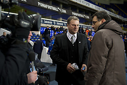 LONDON, ENGLAND - Wednesday, February 1, 2012: NextGen Series co-founder Justin Andrews and Liverpool's Director of Football Strategy Damien Comolli during the NextGen Series Quarter-Final match against Tottenham Hotspur at White Hart Lane. (Pic by David Rawcliffe/Propaganda)