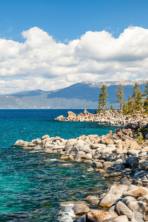 """""""Boulders at Lake Tahoe 48"""" - These boulders and aqua blue waters were photographed along the East Shore of Lake Tahoe."""