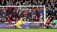 Sheffield United's John Lundstram scores his side's second goal past Burnley's Nick Pope<br /> <br /> Photographer Rich Linley/CameraSport<br /> <br /> The Premier League - Sheffield United v Burnley - Saturday 2nd November 2019 - Bramall Lane - Sheffield<br /> <br /> World Copyright © 2019 CameraSport. All rights reserved. 43 Linden Ave. Countesthorpe. Leicester. England. LE8 5PG - Tel: +44 (0) 116 277 4147 - admin@camerasport.com - www.camerasport.com