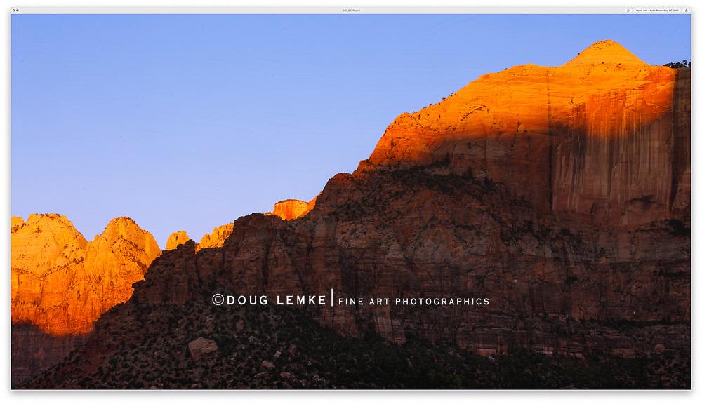 Jagged, saw tooth peaks at dawn, Zion National Park, Utah, USA