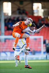 Dundee United's Thomas Mikkelsen and Morton's Ross Forbes. Dundee United 1 v 1 Morton, Scottish Championship game played 25/2/2017 at Tannadice Park.