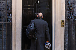 London, UK. 13 December, 2019. Political adviser Dominic Cummings arrives at 10 Downing Street after the Conservative party won the general election with a majority in the House of Commons of 78 with one seat still left to declare.