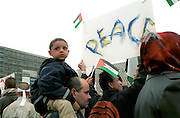 Demonstrators in Alexander Platz in Berlin staging a protest for the Palestinian cause.