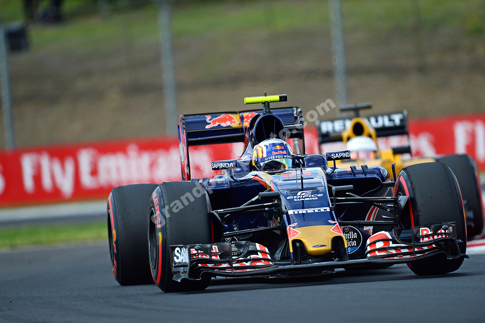 Carlos Sainz Jr. (Toro Rosso-Renault) leading Kevin Magnussen (Renault) during practice before the 2016 Hungarian Grand Prix at the Hungaroring outside Budapest. Photo: Grand Prix Photo