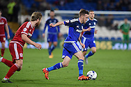 Craig Noone ® of Cardiff city makes a break. Skybet football league championship match, Cardiff city v Middlesbrough at the Cardiff city Stadium in Cardiff, South Wales  on Tuesday 20th October 2015.<br /> pic by  Andrew Orchard, Andrew Orchard sports photography.