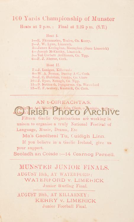 Munster Senior and Minor Hurling Championship Finals,.30.07.1939, 07.30.1939, 30th July 1939,.Senior Cork v Limerick,.Minor Cork v Clare,..100 Yards Championship  of Munster.Heat 1, 1 E Fitzmaurice, Tralee, Co Kerry, 2 J W Lynn, Limerick, 3 James Keelaghan, Monaghan (born limerick), 4 Joseph McCarthy, Limerick, 5 Ted Corbett Ardfinnan, Co Tipp, 6 P J Aherne, Cork, .Heat 2, 7 J Lanigan, Killeraule, 8 W A Nester, Dunlop A C, 9 J C Holohan, Peakle Co Clare, 10 J Ryan, Nenagh, Co Tipp, 11 D McGrath, Dungarvan Co Cork,