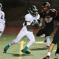 (Photograph by Bill Gerth for SVCN) Homestead #9 Andrew Oduor takes the hand off vs Westmont in a CCS Division 4 Semifinal Football Game at Westmont High School, Campbell CA on 11/18/16.  (Westmont 48 Homestead 27)