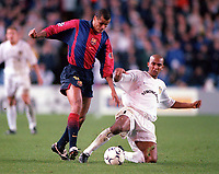 Rivaldo (Barcelona) and Olivier Dacourt (Leeds). Leeds United v Barcelona. European Champions League, Group H, 24/10/00. Credit: Colorsport / Andrew Cowie.
