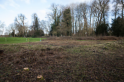 Denham, UK. 4 February, 2020. An area cleared for works for the HS2 high-speed rail link close to the river Colne and Denham Country Park. Planned works in the immediate area are believed to include the felling of 200 trees and the construction of a roadway, Bailey bridge, compounds, fencing and a parking area. The other side of the river bank lies within a wetland nature reserve adjacent to a Site of Metropolitan Importance for Nature Conservation (SMI).