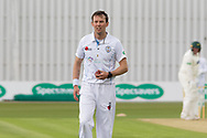 Tony Palladino bowling during the Specsavers County Champ Div 2 match between Leicestershire County Cricket Club and Derbyshire County Cricket Club at the Fischer County Ground, Grace Road, Leicester, United Kingdom on 27 May 2019.