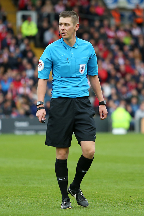 Referee Matthew Donohue in action<br /> <br /> Photographer David Shipman/CameraSport<br /> <br /> The EFL Sky Bet League Two - Lincoln City v Crawley Town - Saturday September 8th 2018 - Sincil Bank - Lincoln<br /> <br /> World Copyright © 2018 CameraSport. All rights reserved. 43 Linden Ave. Countesthorpe. Leicester. England. LE8 5PG - Tel: +44 (0) 116 277 4147 - admin@camerasport.com - www.camerasport.com