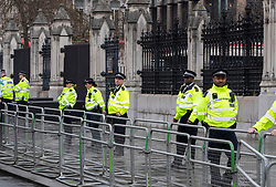 © Licensed to London News Pictures. 24/04/2019. London, UK. Police surround the entrances to Parliament as climate change protestors block Parliament Square. Extinction Rebellion demonstrations are continuing on a small scale in parts of the capital. Photo credit: Peter Macdiarmid/LNP