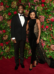Adrienne Warren (right) and guest attending the Evening Standard Theatre Awards 2018 at the Theatre Royal, Drury Lane in Covent Garden, London