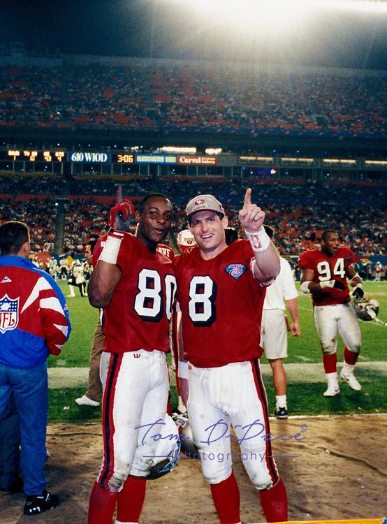 ©Tom DiPace Photography 2005<br /> All Rights Reserverved<br /> 561-968-0600   <br /> Steve Young  & Jerry Rice SF 49ers SuperBowl 1994<br /> MVP of Super Bowl XXIX<br /> By Tom DiPace©