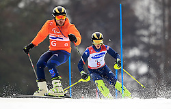 Great Britain's Millie Knight (right) and her guide Brett Wild (left) compete in the Women's Slalom, Visually Impaired at the Jeongseon Alpine Centre during day nine of the PyeongChang 2018 Winter Paralympics in South Korea.