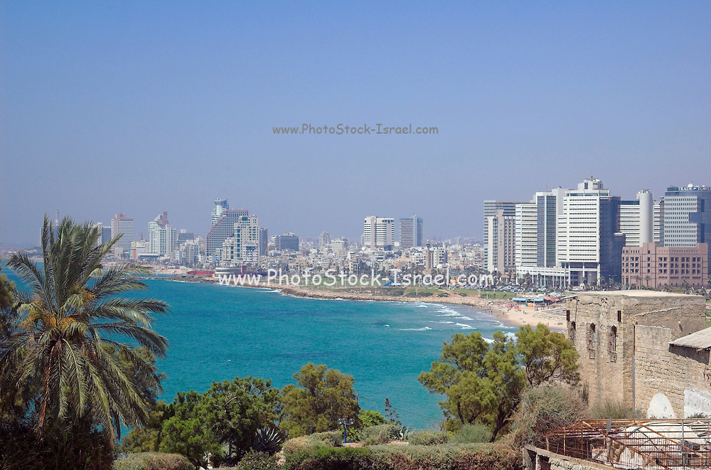 Israel, Tel Aviv coast line as seen from south from Old Jaffa