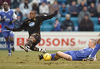 Picture: Henry Browne.<br /> Date: 26/02/2005.<br /> Gillingham v Wigan Athletic Coca Cola Championship.<br /> Nathan Ellington of Wigan is taken out by Andrew Crofts of Gills.
