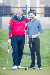 Sir Steve Redgrave and Jamie Dornan. Alfred Dunhill Links Championship this morning at St Andrews.
