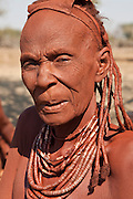 The chief of a Himba tribe in her village near Opuwo, Namibia, Africa.