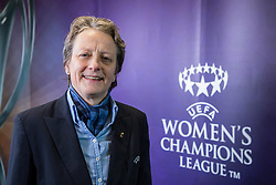 CARDIFF, ENGLAND - Tuesday, February 21, 2017:Karen Espelund, UEFA Chair of Women's Football Committee in Cardiff Library to promote the men's and women's UEFA Champions League Finals being staged in Cardiff this June. (Pic by Paul Greenwood/Propaganda)