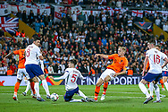 Netherlands Midfielder Donny van de Beek (Ajax) tries for goal during the UEFA Nations League semi-final match between Netherlands and England at Estadio D. Afonso Henriques, Guimaraes, Portugal on 6 June 2019.