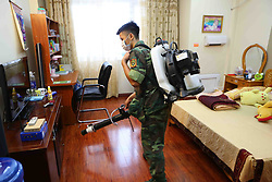 August 16, 2017 - Hanoi, Vietnam - A worker sprays insecticides in residential areas in Hanoi, capital of Vietnam. Vietnam has so far this year detected more than 80,500 dengue fever patients, including 24 fatalities, much higher than the numbers in the same period last year, the country's Preventive Medicine Department said. (Credit Image: © Vna/Xinhua via ZUMA Wire)