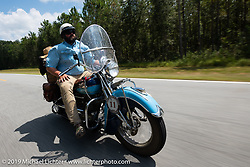 Evan Riggle riding his 1942 Indian 4-cylinder in the Cross Country Chase motorcycle endurance run from Sault Sainte Marie, MI to Key West, FL. (for vintage bikes from 1930-1948). Stage-7 covered 249 miles from Macon, GA to Tallahassee, FL USA. Thursday, September 12, 2019. Photography ©2019 Michael Lichter.