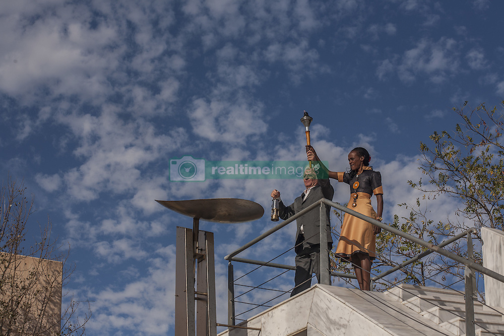 November 12, 2016 - Marathonas, Greece - Jemima Sumgong Kenyan gold Medalist at the 2016 Rio Olympics lights the altar with the Marathon Torch. Ceremony in the Greek city of Marathonas as part of the 35 Athens Marathon the Authentic. (Credit Image: © George Panagakis/Pacific Press via ZUMA Wire)