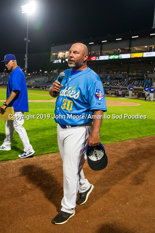 Amarillo Sod Poodles Manager Phillip Wellman addresses the crowd after the game against the Tulsa Drillers during the Texas League Championship on Wednesday, Sept. 11, 2019, at HODGETOWN in Amarillo, Texas. [Photo by John Moore/Amarillo Sod Poodles]