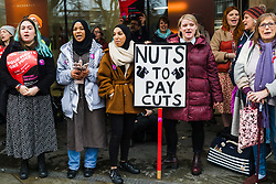 © Licensed to London News Pictures. 27/11/2019. London, UK. UCU General Secretary, Jo Grady (2-R) joins members of the University and Colleges Union (UCU) taking part in a protest and strike action outside City, University of London today. Lecturers and support staff across 60 universities in the UK are currently on an eight day strike, taking action in two disputes, one on pensions and one on pay and conditions. Photo credit: Vickie Flores/LNP