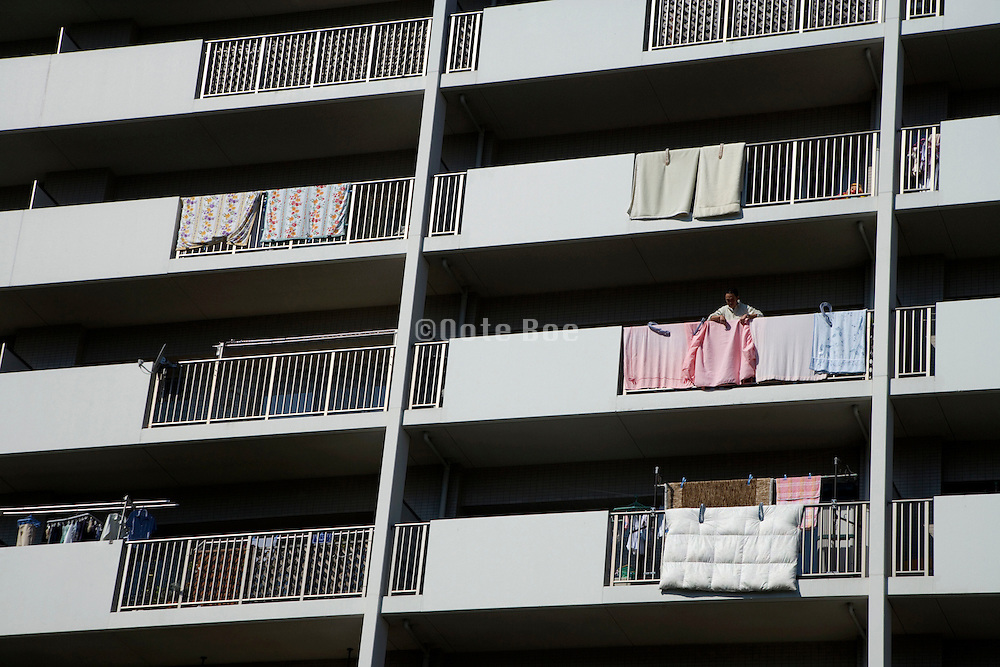 facade of residential high rise apartment building in Japan