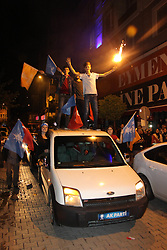 Supporters of Turkey's President and ruling Justice and Development Party, or AKP, leader Recep Tayyip Erdogan celebrate elections victory in Afyonkarahisar, Sunday, June 24, 2018. Unofficial results from Turkey's presidential election show incumbent Recep Tayyip Erdogan with a commanding lead. Photo by Satilmis Akkas/DHA/Depo Photos/ABACAPRESS.COM)
