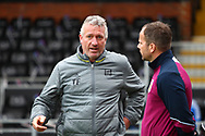 Tim Flowers of Fulham and Stephen Clemence of Aston Villa chat before the Sky Bet Championship match at Craven Cottage, London<br /> Picture by Richard Brooks/Focus Images Ltd 07947656233<br /> 17/04/2017