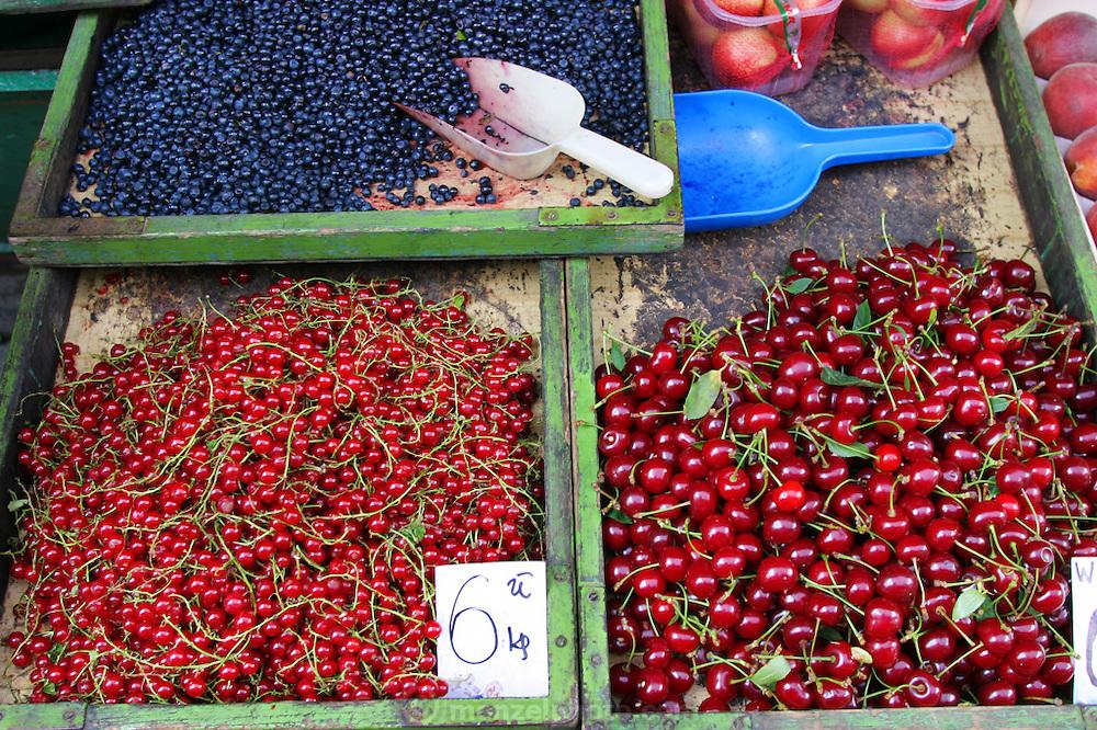 Krakow, Poland summer fruit in market.