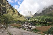Asia, Nepal, village in mountain landscape,