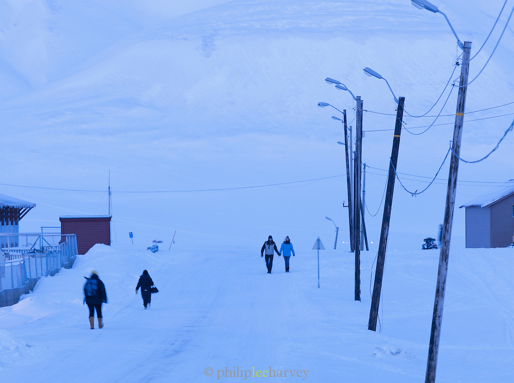A street in Longyearbyen, the capital and largest settlement of the Svalbard archipelago, on Spitsbergen, Norway