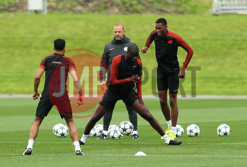 Yaya Toure and Tosin Adarabioyo of Manchester City train - Mandatory by-line: Matt McNulty/JMP - 12/09/2016 - FOOTBALL - Manchester City - Training session ahead of Champions League Group C match against Borussia Monchengladbach