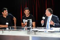Hubert FOURNIER / Jeremy MOREL / Jean Michel AULAS - 01.06.2015 - Presentation du nouveau joueur de Lyon<br />Photo : Jean Paul Thomas / Icon Sport